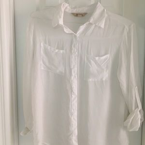 White chiffon button up blouse